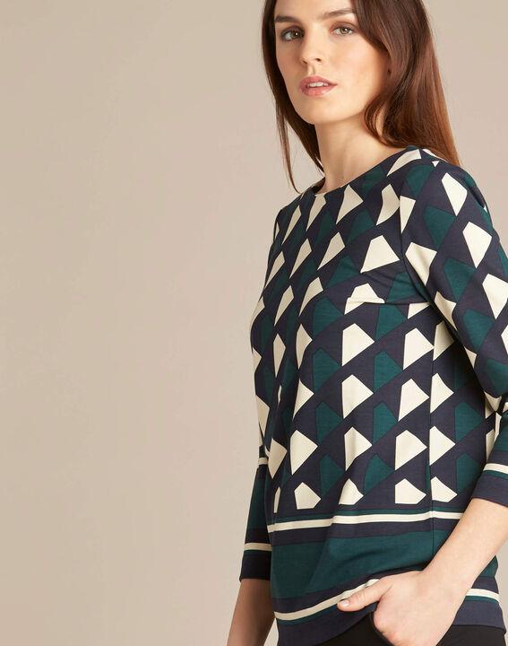Bosgroene blouse met grafische print Evita (3) - 37653