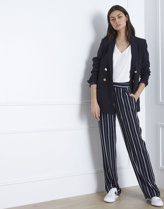Pantalon marine rayé Greta (1) - Maison 123