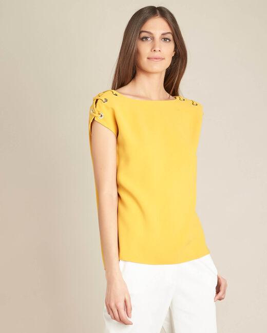 Gelbe Bluse mit Ösen und Schnüren Germina (2) - 1-2-3