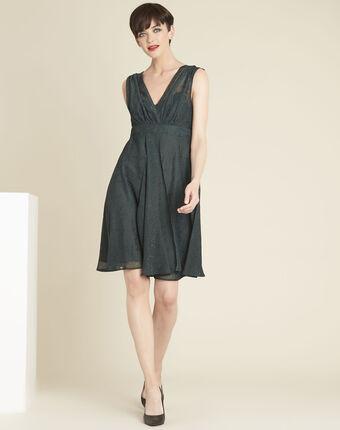 Donkergroene jurk met glittersteentjes nina cypres.