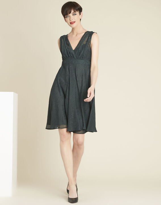 Nina dark green dress with diamanté detailing (2) - 1-2-3