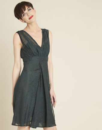 Nina dark green dress with diamanté detailing forest green.