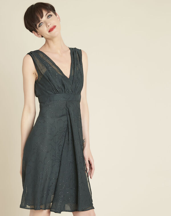Nina dark green dress with diamanté detailing (1) - 1-2-3