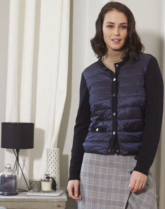 Snow navy blue quilted dual-fabric jacket navy.