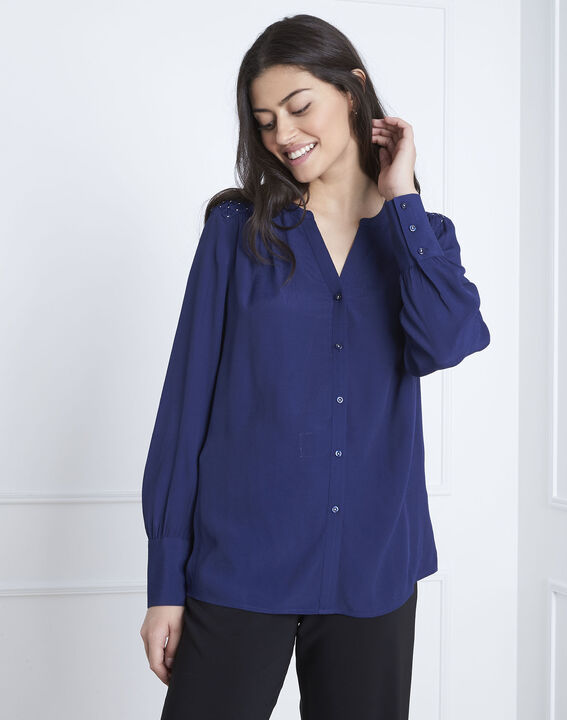 Valda navy fluid-cut blouse (2) - 1-2-3