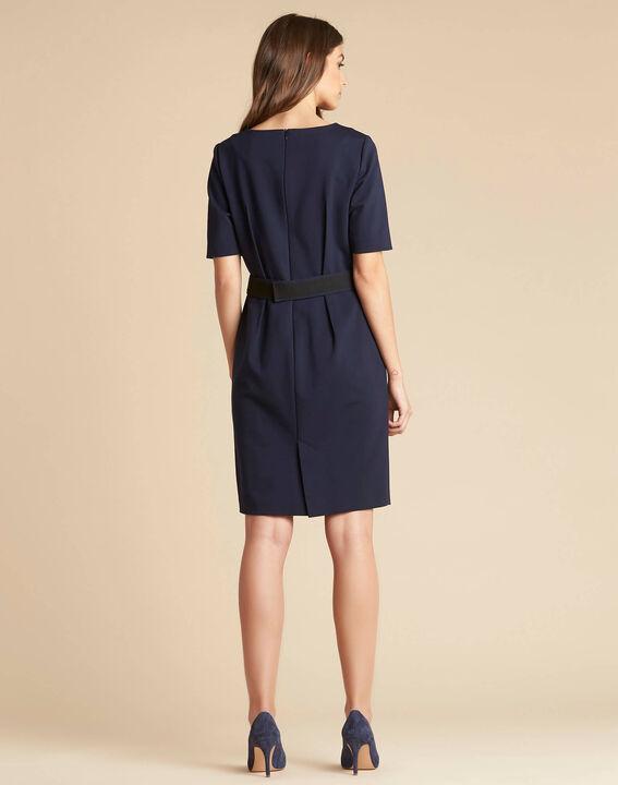 Marineblaues tailliertes Kleid mit Gürtel Pam (4) - 1-2-3