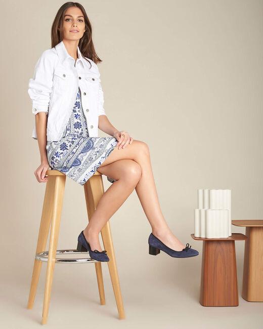 Pistil navy blue printed dress in silk (1) - 1-2-3