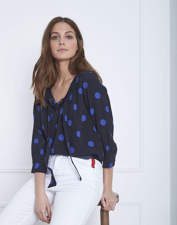 Marineblaue, gepunktete Bluse mit Ösen-Ausschnitt Versailles (1) - Maison 123