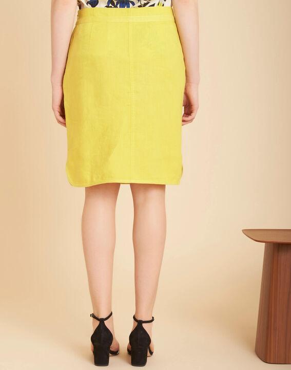 Lumio yellow linen skirt with tie (4) - 1-2-3
