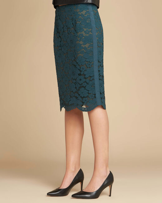 Lantana forest green skirt in lace with side strip (2) - 1-2-3