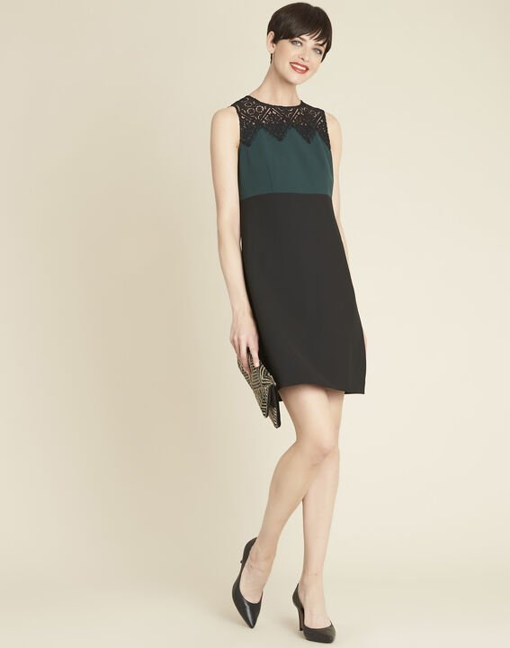 Noe emerald green dual-fabric dress with lace neckline (3) - 1-2-3