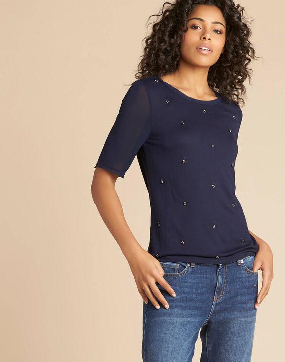 Tee-shirt marine à pois perles et manches georgette Eclipse (3) - 1-2-3