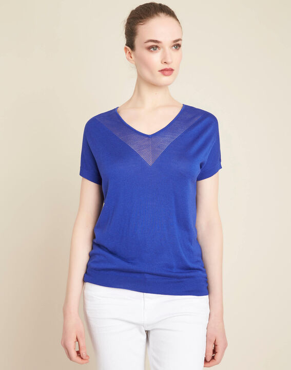 Never royal blue fine-knit sweater with openwork neckline (3) - 1-2-3