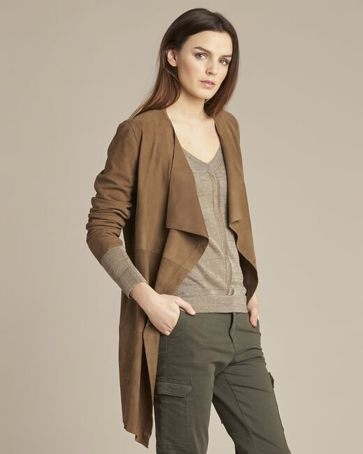 Veste marron waterfall 3/4 cuir velours Gaston (2) - 1-2-3