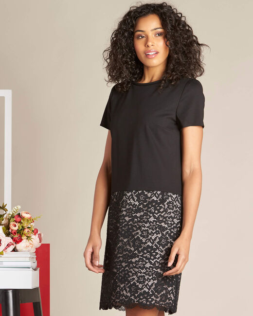 Ylune dual-fabric black straight-cut lace dress (2) - 1-2-3