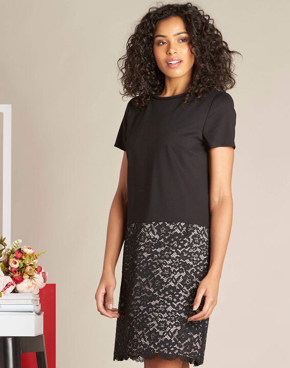 Ylune dual-fabric black straight-cut lace dress (3) - 1-2-3