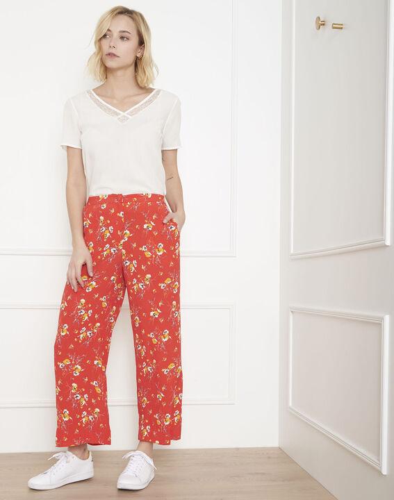 Pantalon rouge large imprimé fleuri Gigi (1) - Maison 123