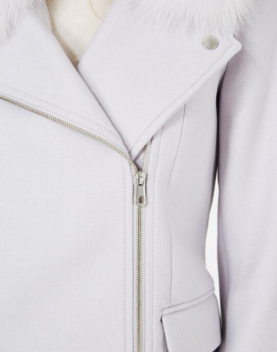 Perlengrauer Mantel aus Woll-Mix mit Pelzkragen Oryanne (4) - 1-2-3