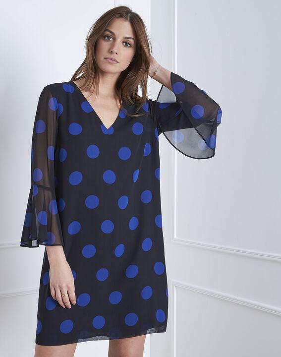 Marineblaues Kleid mit Pünktchenmuster Astrid (1) - Maison 123