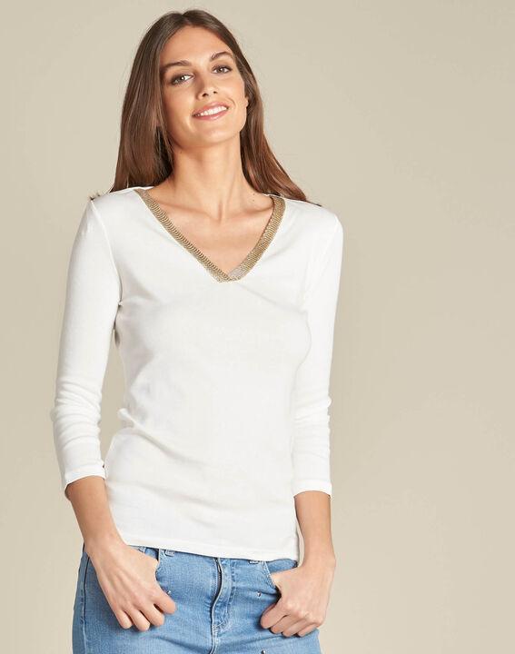 Tee-shirt écru encolure fantaisie Etincelant (3) - 1-2-3