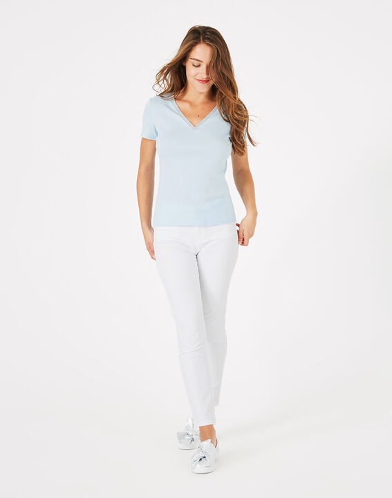 Tee-shirt bleu ciel col strassé Neck (2) - 1-2-3