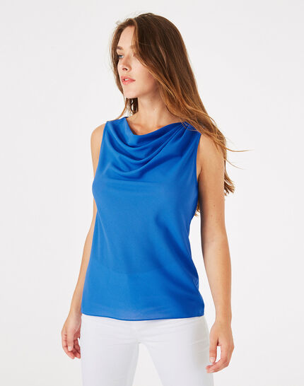 Daisy royal blue top with cowl neckline PhotoZ | 1-2-3