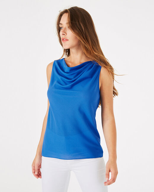 Daisy royal blue top with cowl neckline (1) - 1-2-3