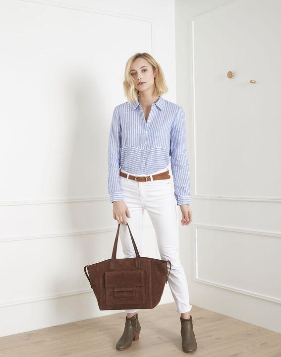 Chemise bleu azur rayée en lin Venetia (2) - Maison 123