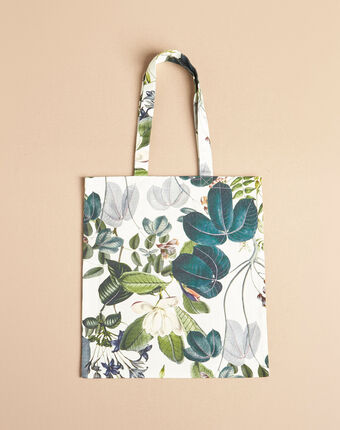 Ecru tote bag with flower print dark teal.