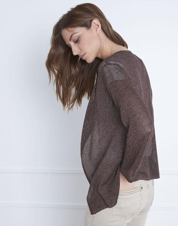 Braune Jacke aus metallisierter Viskose Noisette (4) - Maison 123