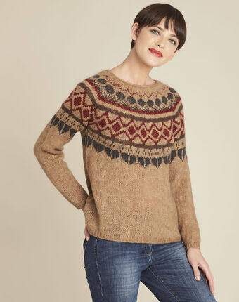 Balzac camel mohair pullover with decorative motif buttercup.