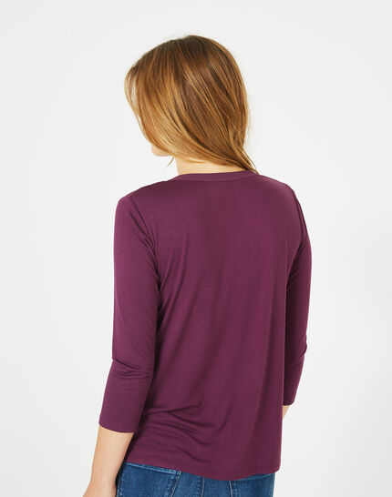 Cassisfarbenes 3/4-Arm-T-Shirt Bianca (5) - 1-2-3
