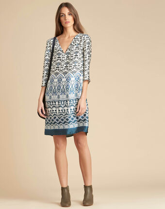 Passiflore blue printed dress blue.