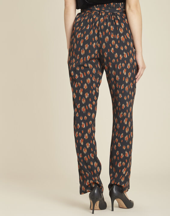 Scoty loose black printed tapered trousers (4) - 1-2-3