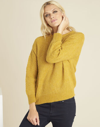 Pull jaune points fantaisies bardot ocre.