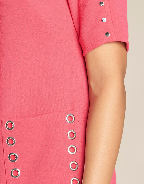 Plume fuchsia straight-cut dress with eyelets (1) - 1-2-3