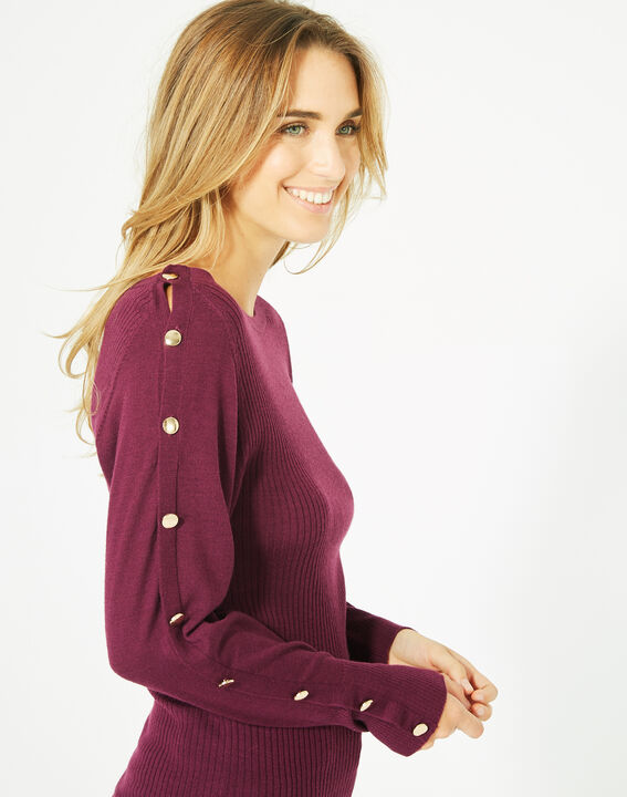 Philo woolen blackcurrant sweater with stylish sleeves (2) - 1-2-3
