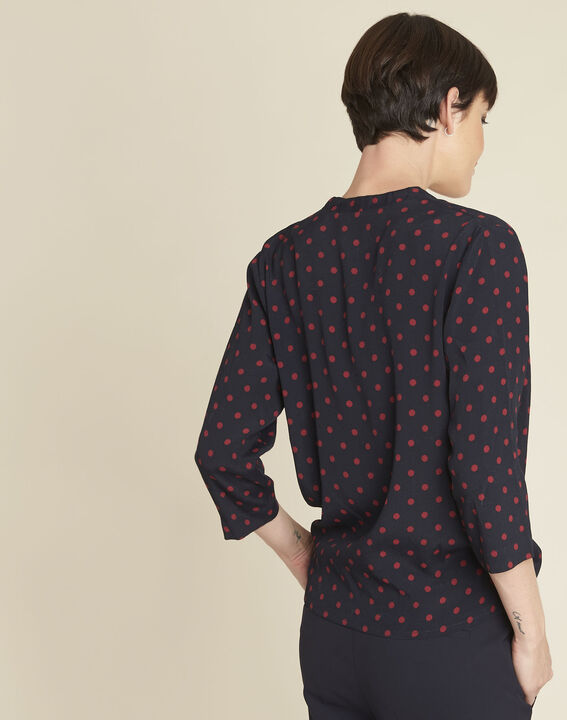 Calme navy polka dot crossover blouse (4) - 1-2-3