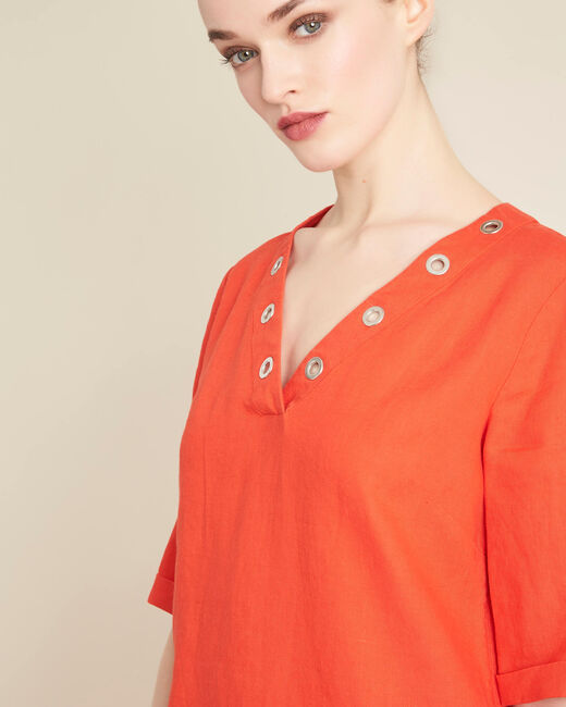 Pavot orange linen dress with eyelets on the neckline (1) - 1-2-3