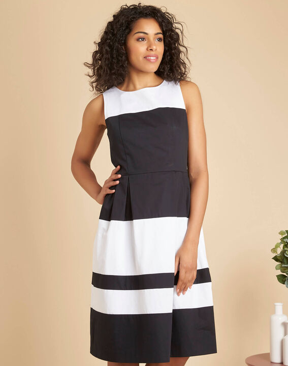 Isla black and white striped dress with original back (3) - 1-2-3