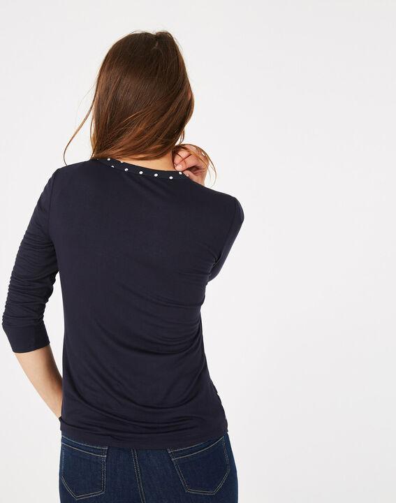 Marineblaues T-Shirt mit Tupfen Leden (5) - 1-2-3