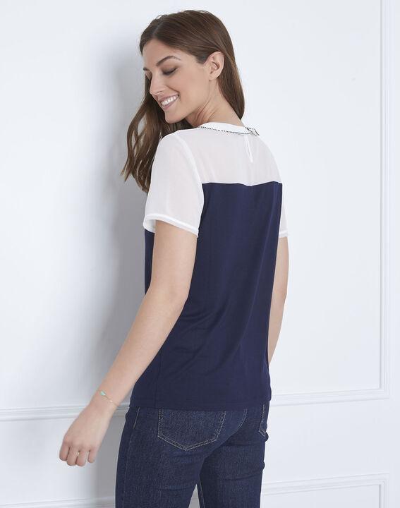 Paris navy T-shirt with decorative neck (4) - Maison 123