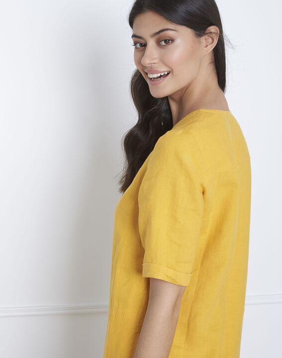 Robe jaune en lin Loanne (4) - Maison 123