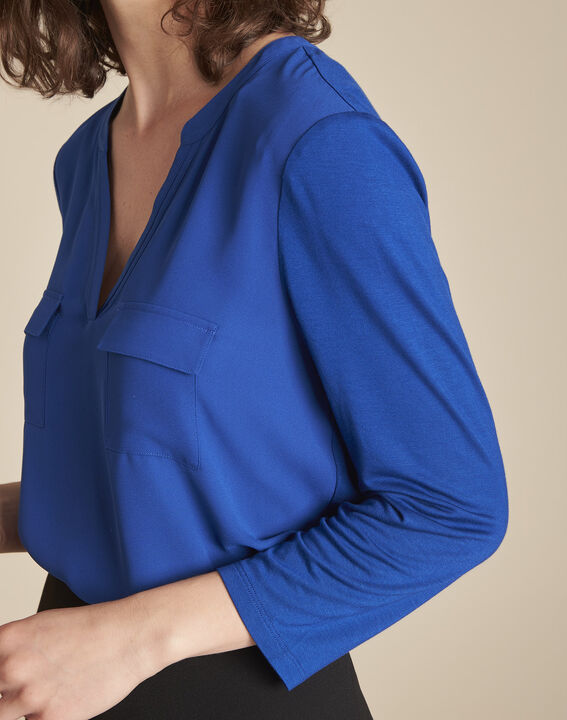 Blauwe blouse uit twee materialen Genna (3) - Maison 123