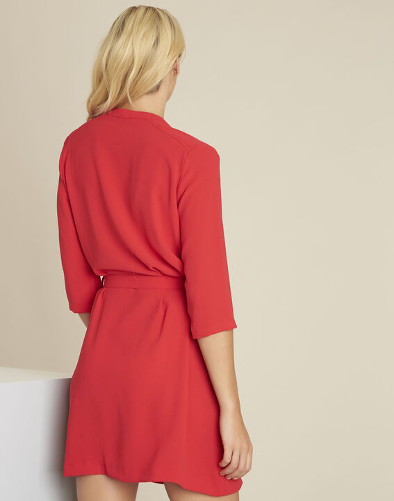 Donovan red buttoned belted crepe dress (4) - 1-2-3