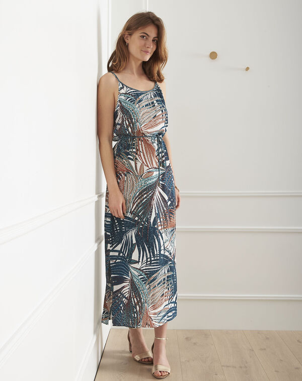 0187f2bf8debbf Ecru lange jurk met palmboomprint Lapaye (1) - Maison 123