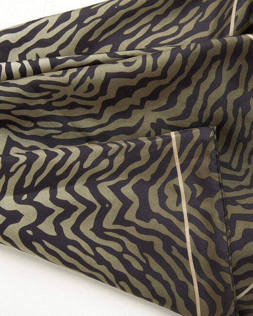 Anouk khaki animal print square silk scarf (2) - 1-2-3
