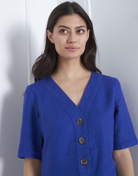 Robe bleue en lin Loanne (3) - Maison 123