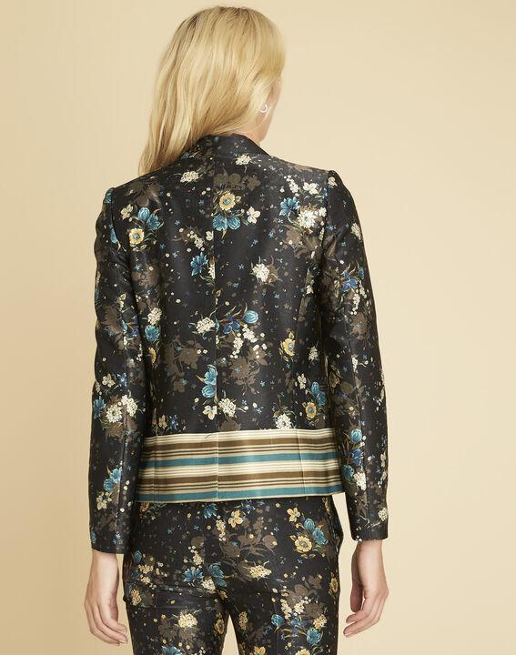 Schwarze Jacke mit Blumenprint Demoiselle (4) - 1-2-3
