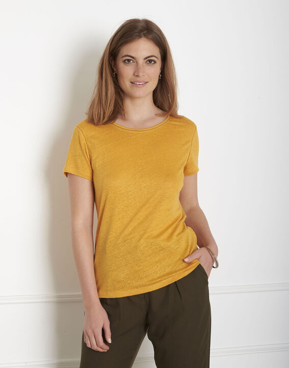 Tee-shirt jaune jour échelle en lin Pin (1) - Maison 123